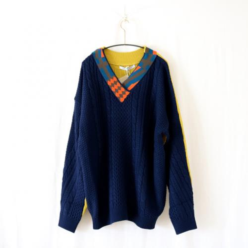FLAG DOUBLE FACE PO KNIT